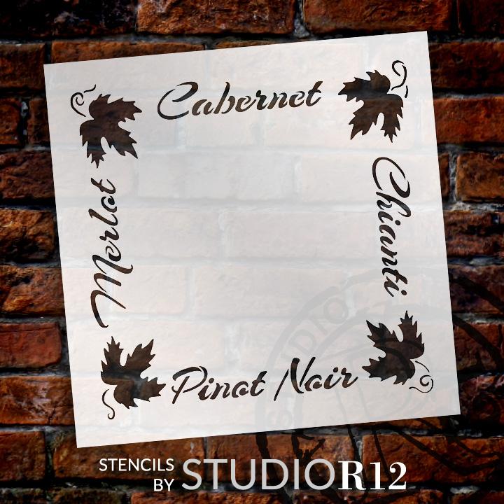 "French Wine Frame Word Art Stencil - 16"" x 16"" - STCL1035_3 - by StudioR12"