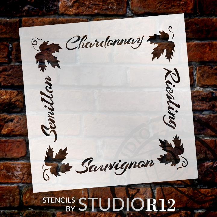 "European Wine Frame Word Art Stencil - 16"" x 16"" - STCL1034_3 - by StudioR12"
