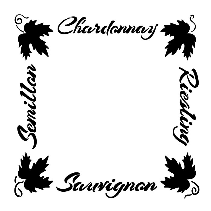 "European Wine Frame Word Art Stencil - 19"" x 19"" - STCL1034_4 - by StudioR12"