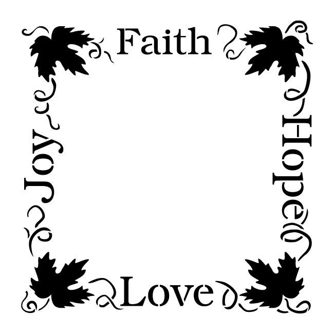 Faith Hope Love Joy Grapevine Frame Word Art Stencil 13 X 13