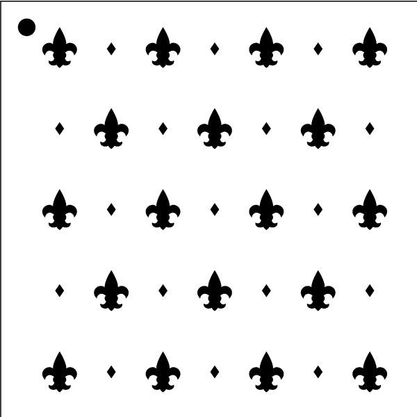 "Versailles Fleurs - Repeatable Pattern Stencil - 12"" x 12"""