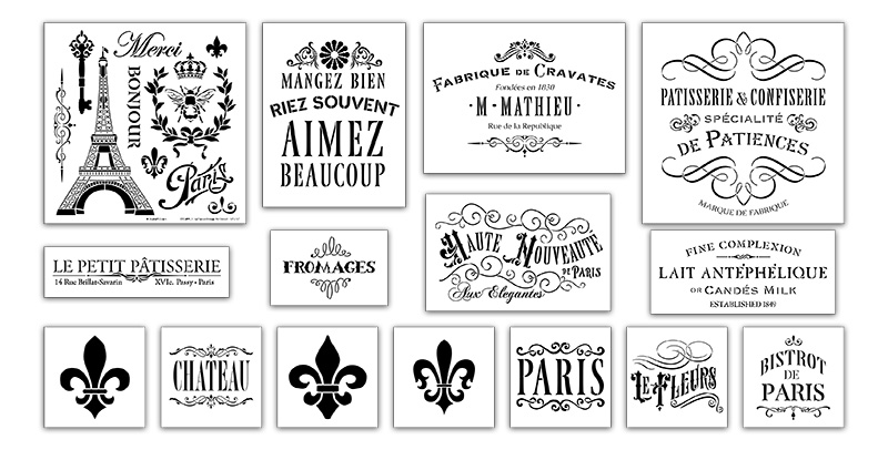 French Vintage Deluxe 15-pc Stencil Set
