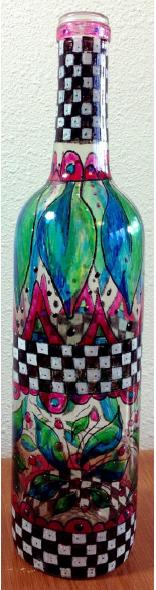 Whimsical Patterned Glass Bottle - E-Packet - Christy Hartman