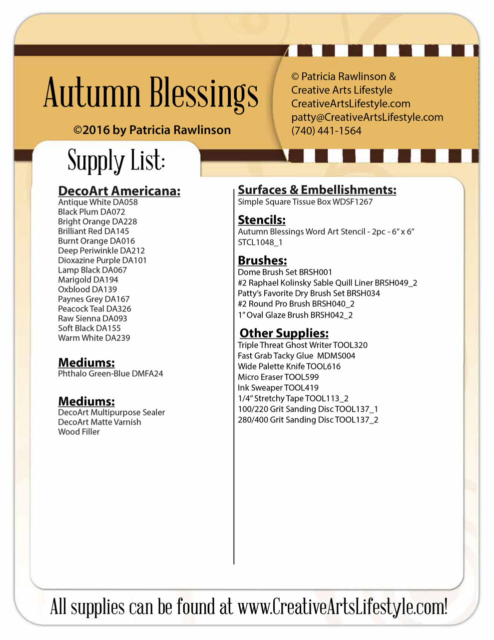 Autumn Blessings - Beginner Dry Brushing Techniques - DVD and Pattern Packet - Patricia Rawlinson