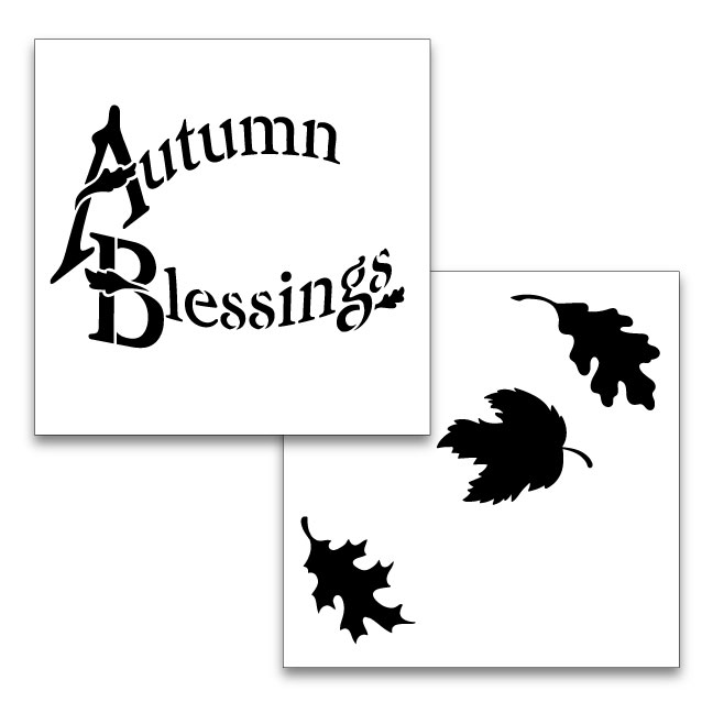 "Autumn Blessings Word Art Stencil - 2pc - 6"" x 6"""