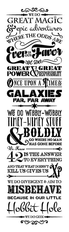 "We Do Geek Word Art Stencil - 9"" x 30"" 1"