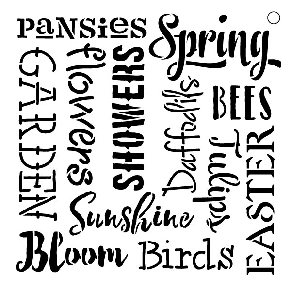 "Spring Words -Pattern Stencil - 9"" X 9"""