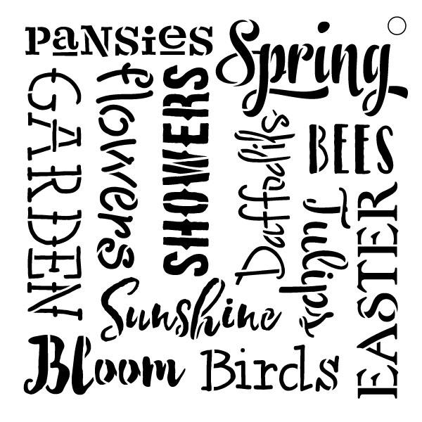 """Spring Words -Pattern Stencil - 15"""" X 15"""""""