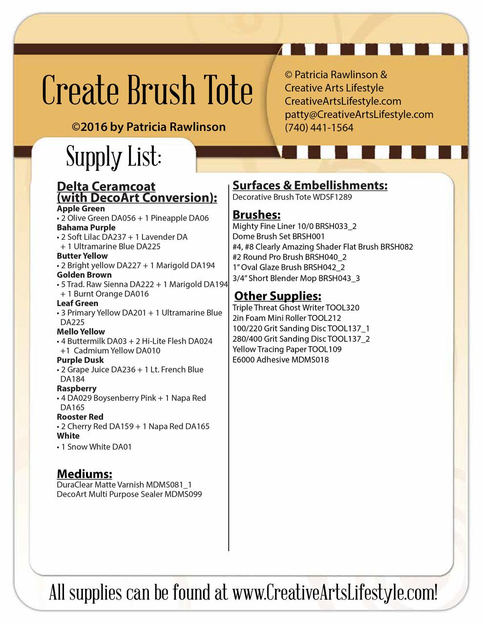 Create Brush Tote - E-Packet - Patricia Rawlinson
