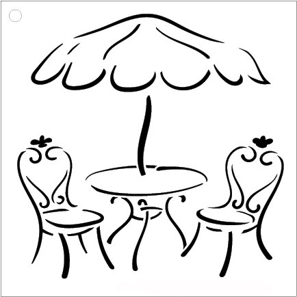 "Cafe Table Art Stencil- 9"" X 9"""