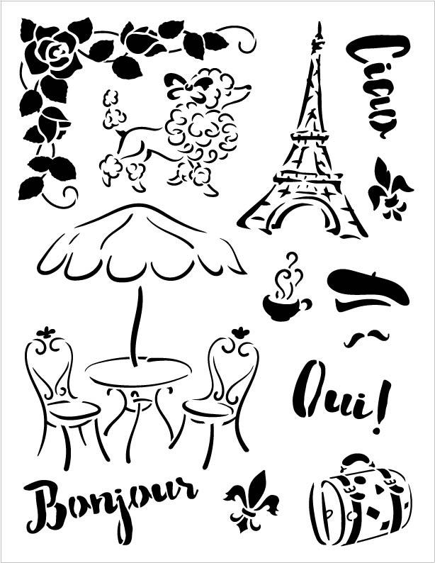 """Jadore Paris Art Stencil -  8 1/2"""" x 11"""""""