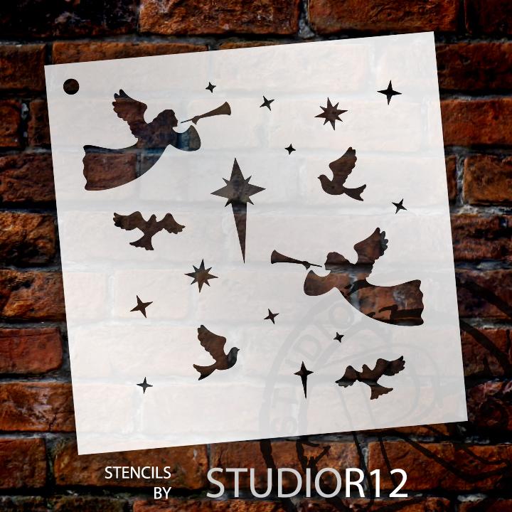 "O Holy Night - Pattern Stencil - 6"" x 6"""
