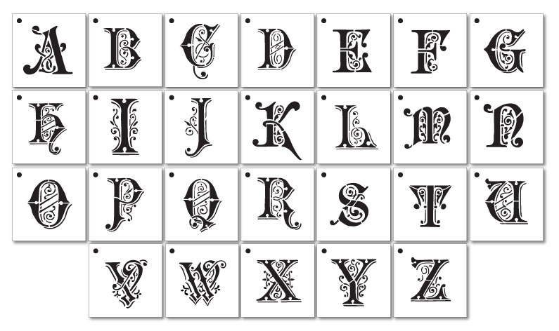 Ornate Monogram Stencils - Full Alphabet