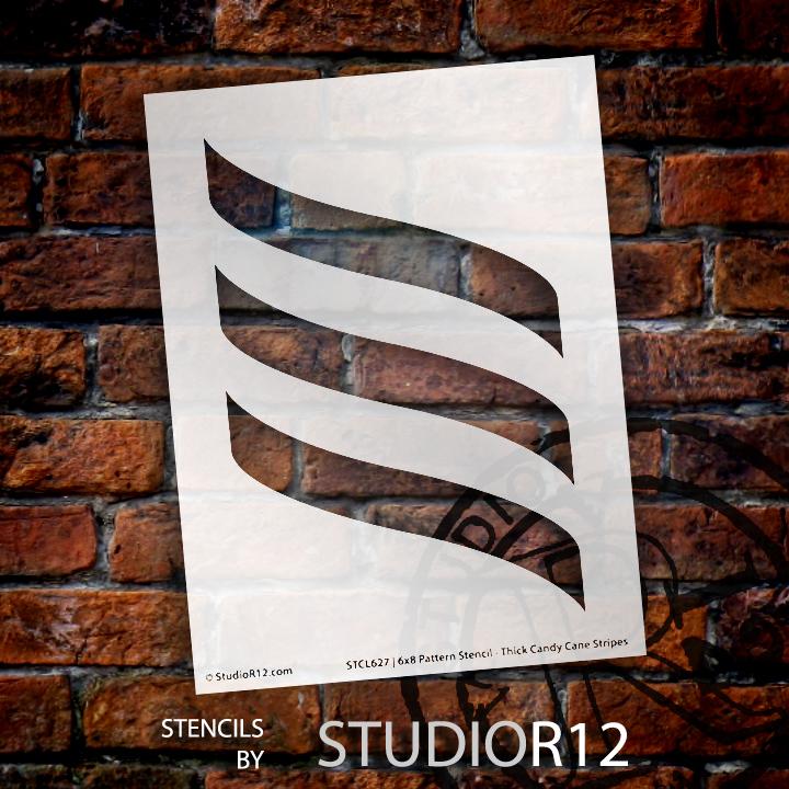 "Pattern Stencil - Thick Candy Cane Stripes - 5"" x 7"""