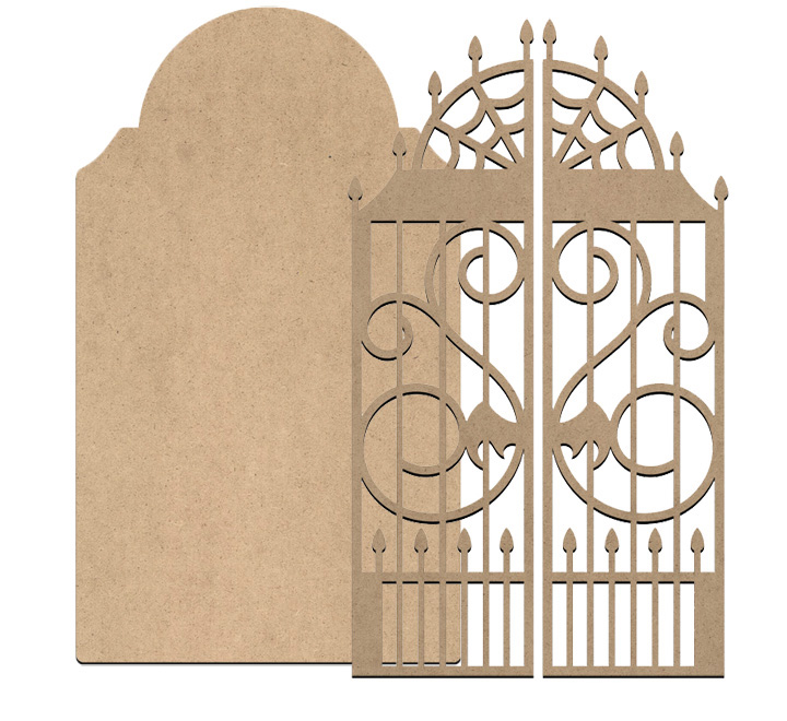Macabre Tombstone with Gate - Large - 12in x 7in