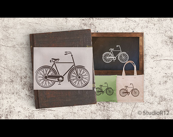 "Basic Vintage Bicycle Art Stencil - 11.5"" x 8"""