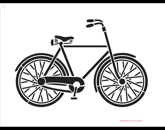 "Basic Vintage Bicycle Art Stencil - 16"" x 12"""