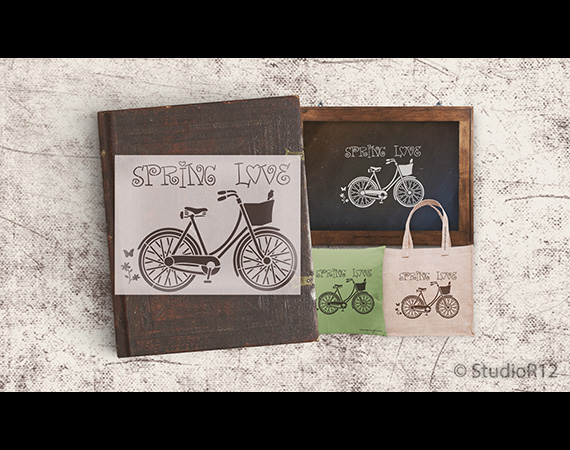 "Spring Love Vintage Bicycle Art Stencil - 12"" x 9"" - STCL1057_1"