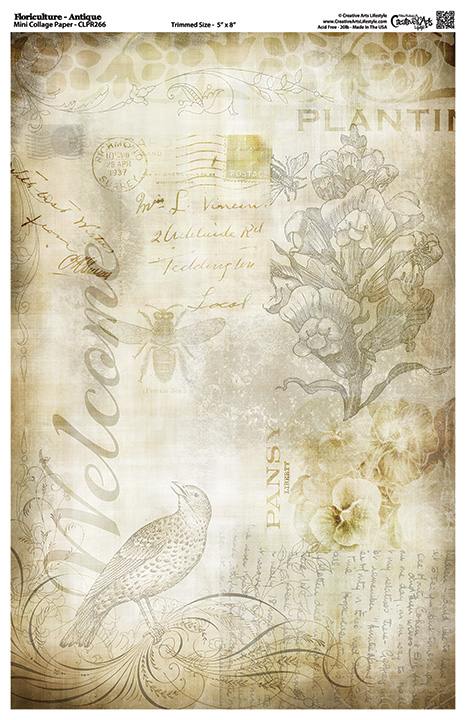 "Floriculture Antique Mini Collage Paper - 8"" x 5"""