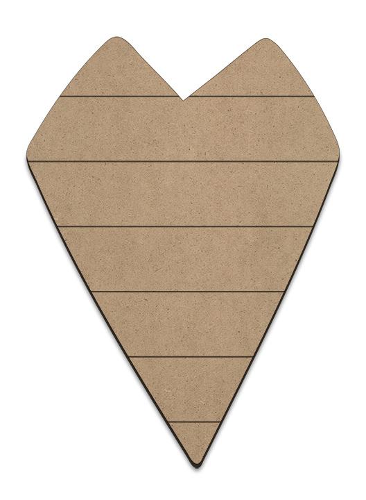 Primitive Heart Plaque - Horizontal Slats- Small