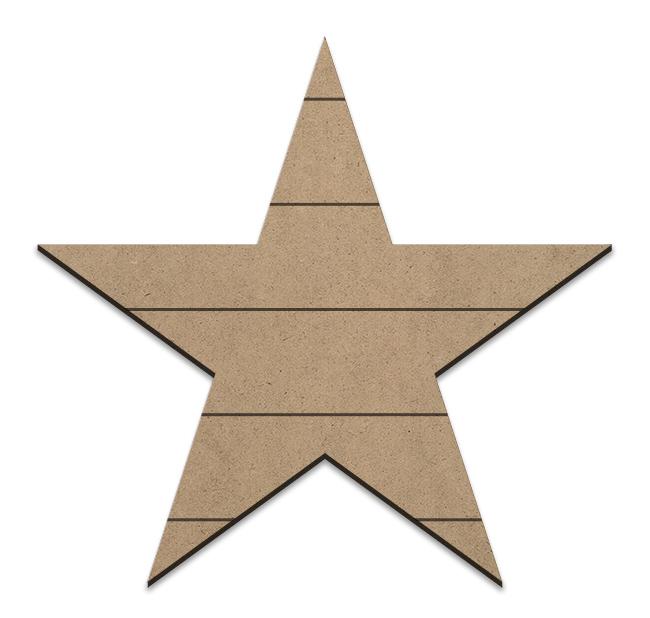 Country Star Plaque - Horizontal Slats - Medium