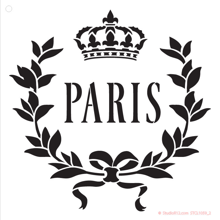 "Paris Crown Art Stencil - 9"" x 9"""