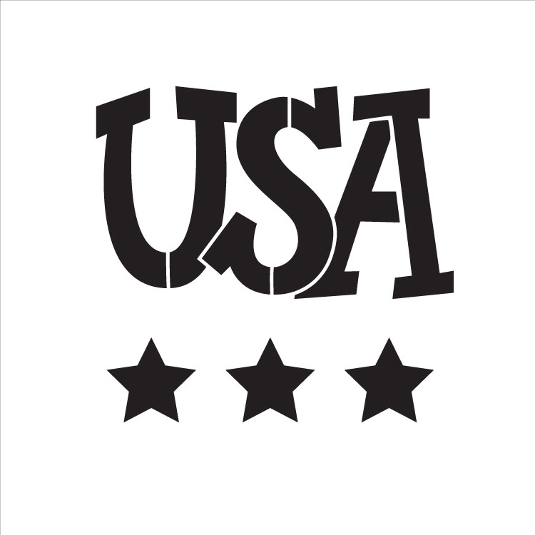 "USA - Word Stencil - Star Spangled - 6"" X 6"""