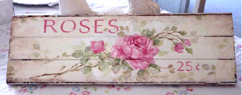 Antique Roses Wood Sign - E-Packet - Debi Coules