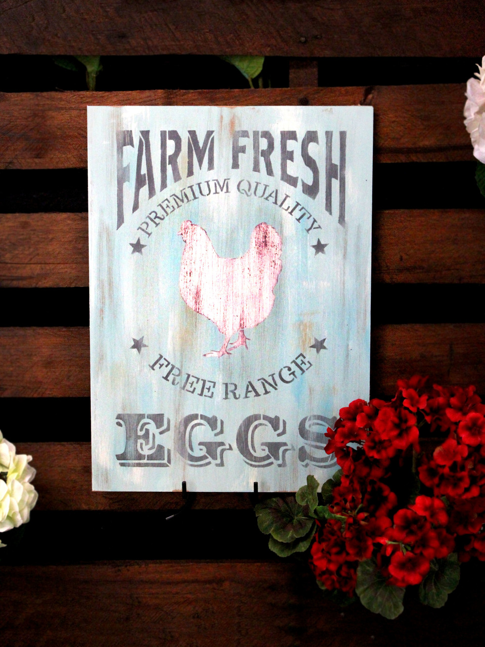 "Farm Fresh Eggs, Chicken Stencil by StudioR12 | Reusable Mylar Template - 9"" X 12.5"""