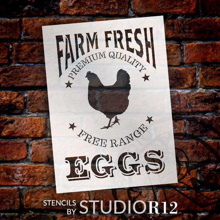 "Farm Fresh Eggs, Chicken Stencil by StudioR12   Reusable Mylar Template - 9"" X 12.5"""