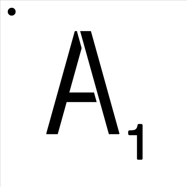 """Word Game Letter Stencil - A - 9"""" x 9"""""""