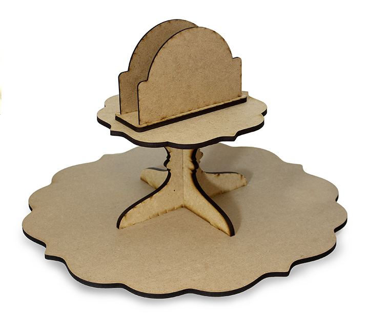 Fancy Scalloped Lazy Susan with Napkin Holder