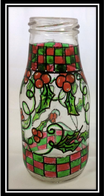 Christmas Checkerboard Patterned Chunky Glass Bottle - E-Packet - Christy Hartman