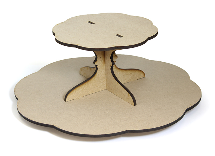 Scalloped Lazy Susan with Tier
