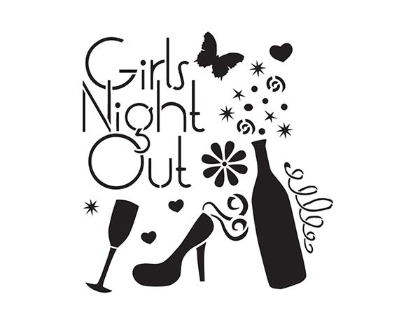 "Girls Night Out - Art Stencil - 6"" x 6"" - by StudioR12"