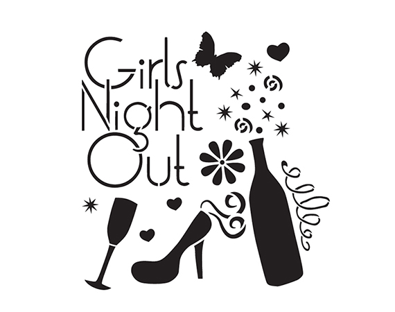 "Girls Night Out - Art Stencil - 15"" x 15"" - by StudioR12"