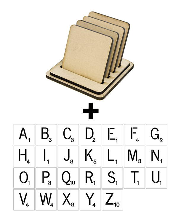 "Square Coaster Set + 4"" x 4"" Word Game Letter Stencil Set"