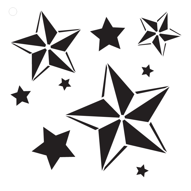 "Nautical Stars - Art Stencil - 6"" x 6"""