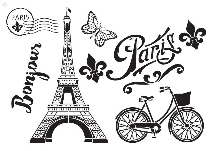 "Paris Bicycle Postcard - Art Stencil -  16"" X 11"""