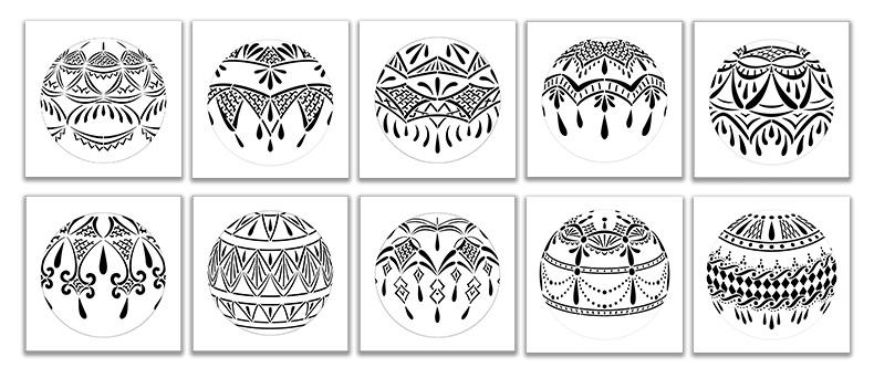 5in Lace Ornament Stencil Set - 10 piece