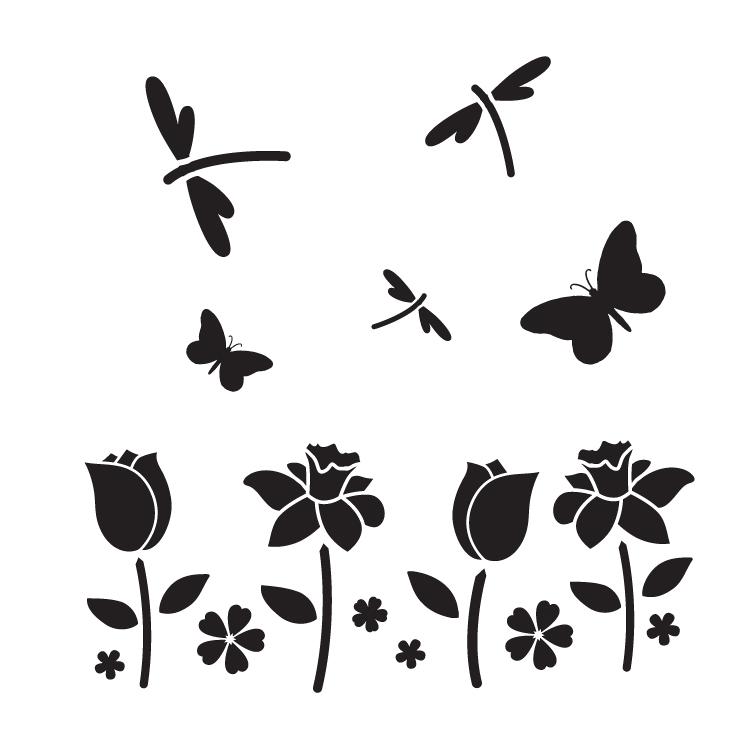 "Field of Flowers - Art Stencil - 9"" x 9"" - STCL1121_2"