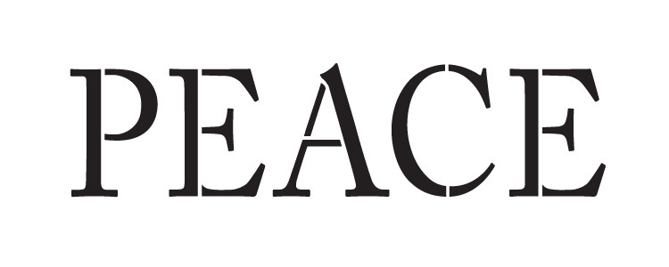 """Peace - Word Stencil - Simple - 10"""" X 4"""" - STCL1148_1"""