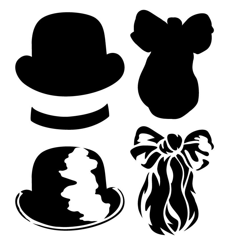 "Dapper Gentleman Stencil - Bowler Hat & Ascot - 11"" x 12"" - STCL1158_1"
