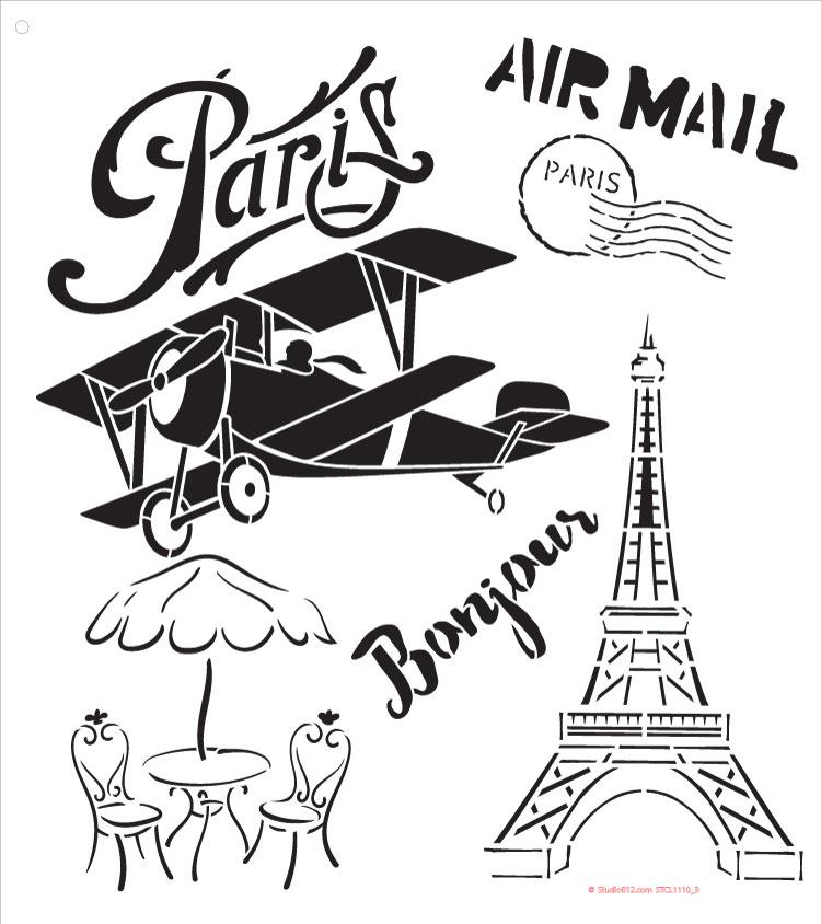 """Paris Air Mail Art Stencil - 10"""" x 11"""""""