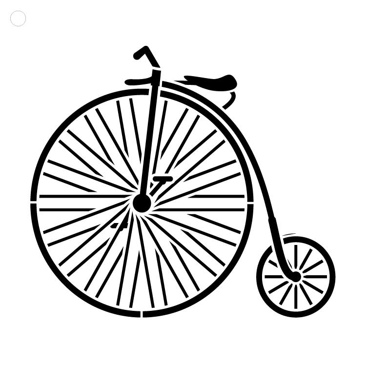 "Vintage Big Wheel Bicycle - Art Stencil - 15"" x 15"" - STCL1109_4"