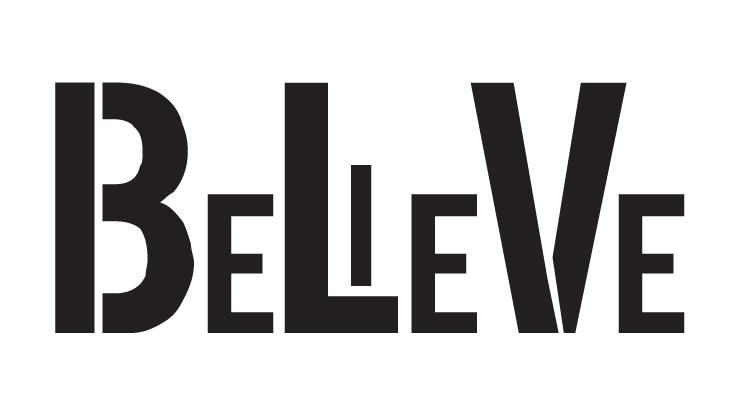 "Believe - Word Stencil - Funky - 11"" X 6 "" - STCL1146_2"