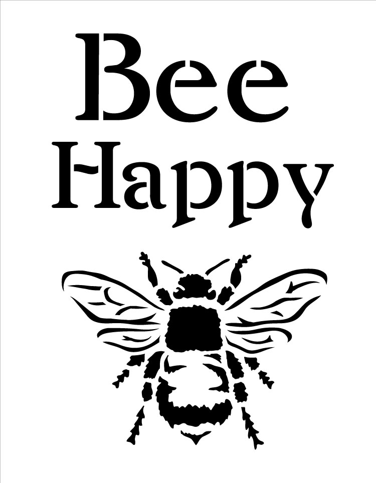 "Bee Happy - Word Art Stencil - 9"" x 7"" - STCL1171_1"