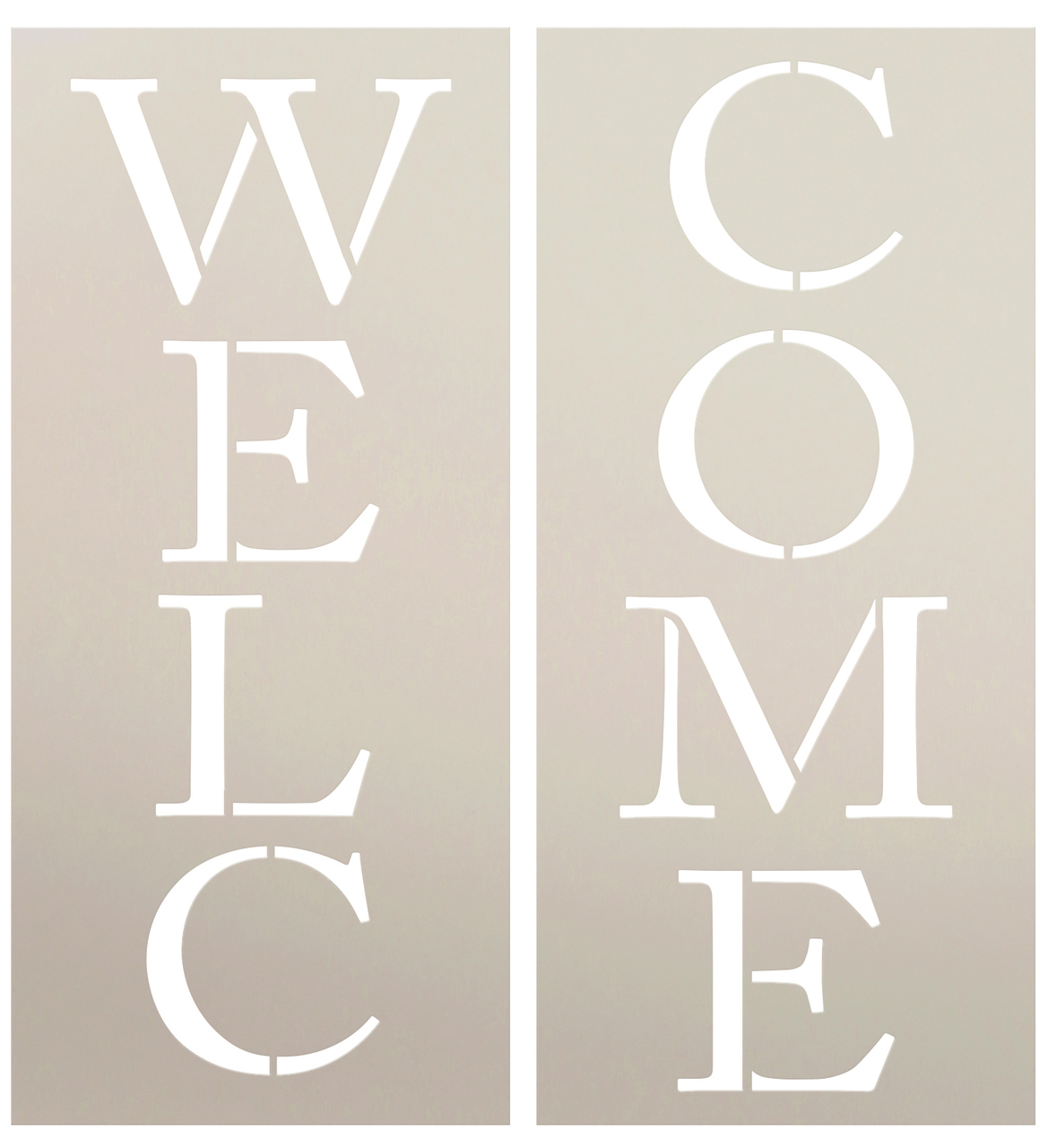 """Welcome - Skinny Traditional - Vertical - Word Stencil -  4.5"""" x 16.5"""" -STCL1178_2"""