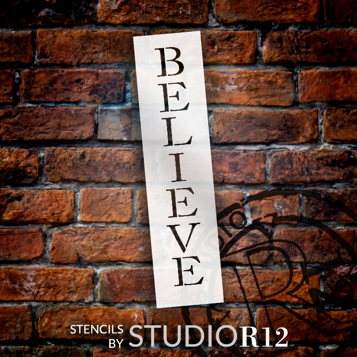 """Believe - Skinny Traditional - Vertical - Word Stencil - 3"""" x 12"""" - STCL1180_1"""