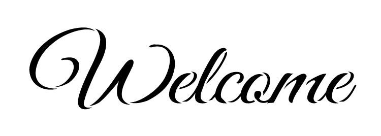 "Welcome -Trendy Script - Word Stencil - 10.5"" x 3.5"" - STCL1185_2"